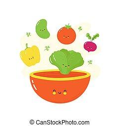 bol, mignon, légumes, heureux, salade, tomber