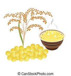bol, millet, enfants, céréale, bébé, cereal., nourriture., ...