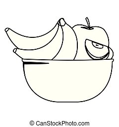 bol, noir, fruits, frais, blanc, dessin animé