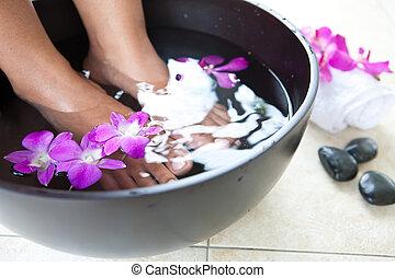 bol, pieds, féminin, pied, spa, orchidées