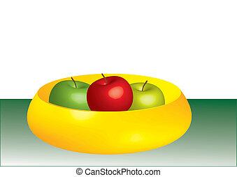 bol, trois, pommes