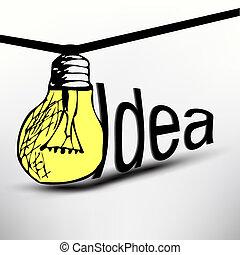 bol, vector, idee, illustratie, licht