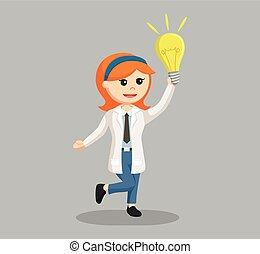 bol, vrouw, wetenschapper, idee