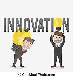 bol, zakenlieden, vasthouden, innovatie
