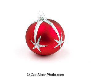 bola, árvore, isolado, decoração, natal, vermelho