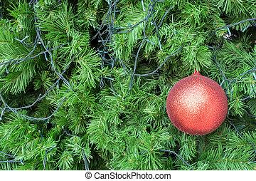 bola, árvore, natal, fundo, vermelho