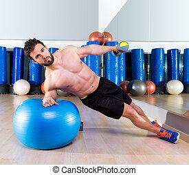 bola, abdominal, lado, fitball, empurrão, suíço, ups, homem