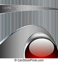 bola, abstratos, metálico, fundo, tecnologia, vermelho