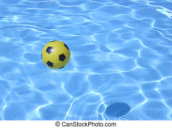 bola, amarela, piscina