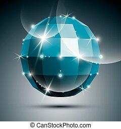 bola azul, espelho, lustroso, cr, partido, 3d