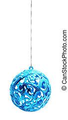bola azul, isolado, fundo, christmas branco