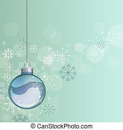 bola azul, luz, fundo, penduradas, natal