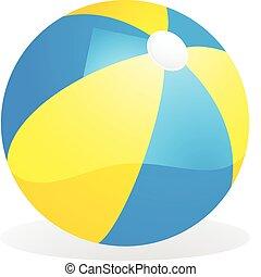 bola azul, praia, amarela