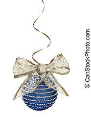 bola azul, prata, arco, natal, fita