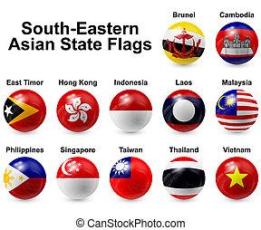 bola, bandeiras