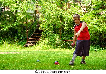 bola bocce, tocando, criança