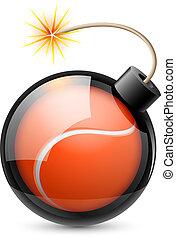 bola, bomba, semelhante, dado forma, abstratos, tênis
