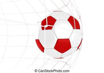bola, branca, futebol, vermelho