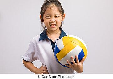 bola branca, isolado, segurando, criança