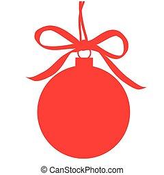bola branca, isolado, vermelho, natal