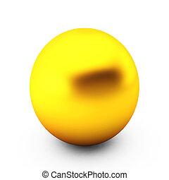 bola branca, ouro, render, 3d