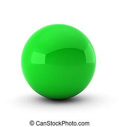bola branca, verde, render, 3d