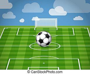bola, capim, mentindo, futebol