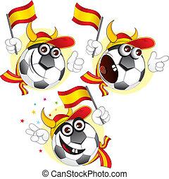 bola, caricatura, espanhol