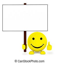 bola, cartaz, mão, face branco, feliz