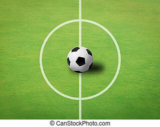 bola, centro, topo, campo, fundo, futebol, vista