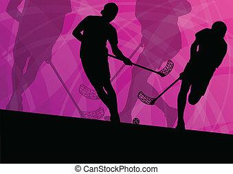 bola, chão, abstratos, ilustração, jogadores, silhuetas, vetorial, fundo, ativo, desporto