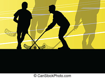 bola, chão, ilustração, jogadores, silhuetas, vetorial, fundo, ativo, desporto, crianças