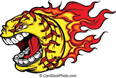 bola, chamas, imagem, rosto, vetorial, softball, gritando, fastpitch