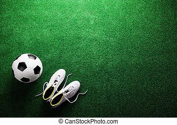bola, chuteiras, contra, estúdio, artificial, verde,...