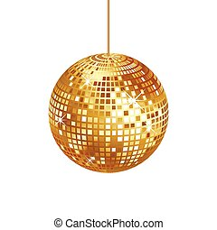 bola, cintilante, isolado, ouro, discoteca