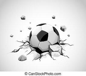 bola, cinzento, concreto, rachado, futebol, chão