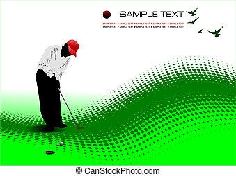 bola, colorido, ilustração, club., bater, vetorial, ferro, golfer