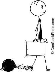 bola, corrente, perna, anexado, ferro, conceitual, homem negócios, caricatura
