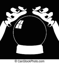 bola cristalina, caixa fortuna, mãos
