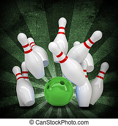 bola de bowling, se estropea, posición, pins., grunge, estilo