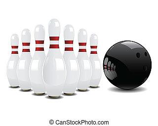 bola de bowling, y, alfileres