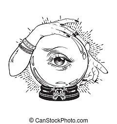 bola de cristal, caja de la fortuna, manos