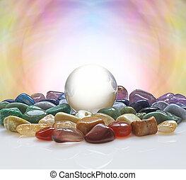 bola de cristal, curación, cristales