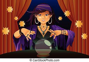 bola de cristal, fortuna, lectura, cajero