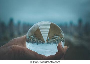 bola de cristal, playa