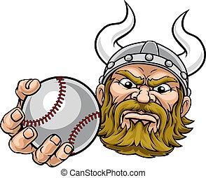 bola del béisbol, deportes, mascota, viking, caricatura