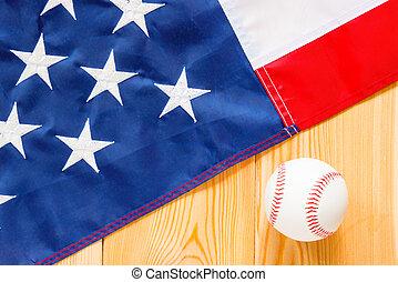 bola del béisbol, y, bandera estadounidense, en, tablas de madera, vista desde arriba