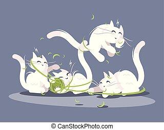 bola del juego, hilos, gatitos