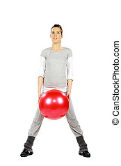 bola, dela, segurando, entre, menina, pernas, vermelho