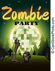 bola, dia das bruxas, ilustração, discoteca, zombie, experiência., vetorial, verde, partido, lua